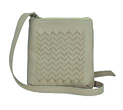 Kabelky - Ručne vyšívaná kabelka z pravej kože v béžovej farbe - 9185100_