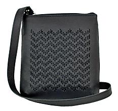 Kabelky - Ručne vyšívaná kabelka z pravej kože v čiernej farbe - 9185154_