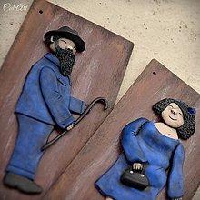Tabuľky - Tabuľky na WC modré II. - muži/ženy - sada 2 ks - 9182724_