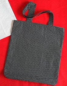 Nákupné tašky - Čierna nákupka- bodky - 9183398_