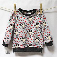 Detské oblečenie - Tričko bábiky a srdiečka veľkosť 74, 80, 86 - 9185803_