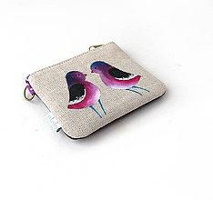 Kľúčenky - Maľovaná kľúčenka Fialové vtáčiky - 9183466_