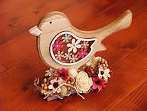 Dekorácie - Veľkonočný farebný drevený vtáčik - 9184113_