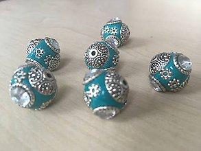 Korálky - Korálka Indonézia modrozelená, 0.65€/ks - 9182698_