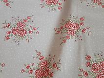 Textil - látka ruže na šedobéžovom -natur - 9184047_