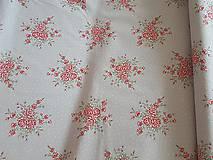 Textil - látka ruže na šedobéžovom -natur - 9184049_