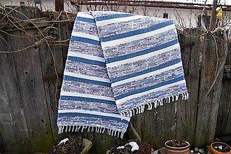 Úžitkový textil - Tkaný koberec modro-bielo-hnedý - 9183104_