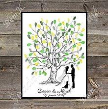 Obrazy - Svadobný strom K1 so siluetou mladomanželov a psom - 9188026_