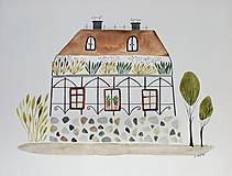 Obrazy - Botanicky dom ilustrácia  / originál maľba - 9187365_