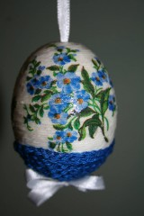 Dekorácie - Kraslica - modrý kvet - 9188976_