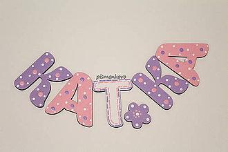 Tabuľky - KATKA dievčenské drevené písmenká na stenu - 9187145_