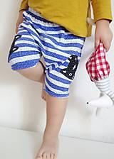 Detské oblečenie - kraťasky z biobavlny Mačky na prúžku - 9190185_