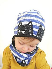 Detské čiapky - čiapka z biobavlny Mačky na prúžku - 9190086_