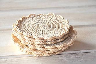 Úžitkový textil - háčkované podšálky, bežové - 9187097_