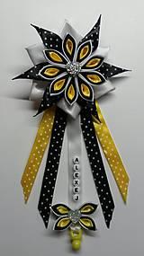 Detské doplnky - Stužka - kvietok na kočík žlto - čierna - 9189303_