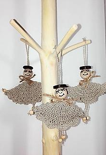 Dekorácie - Vianočné ozdoby - sada 6 ks anjelikov - 9187002_
