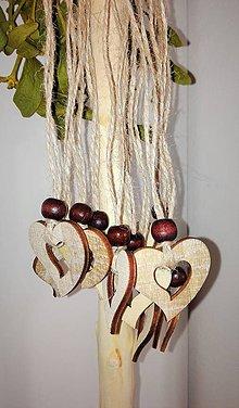 Dekorácie - Drevené ozdoby - srdiečka - 9187100_