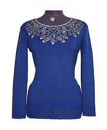 Svetre/Pulóvre - Pulóver v kráľovskej modrej farbe so striebornými prvkami - 9188551_