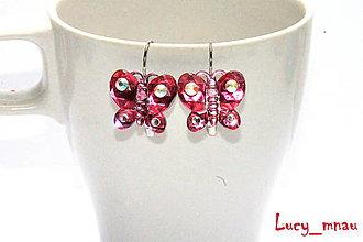 Náušnice - Náušničky motýliky: tmavo-ružové :) - 9189990_