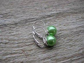 Náušnice - Perly visiace - striebro 925 (Svetlo zelené perly, č.1789) - 9187134_
