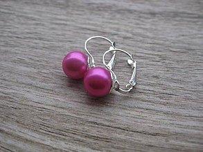 Náušnice - Perly visiace - striebro 925 (Cyklamenovo ružové perly,  č.1793) - 9187242_