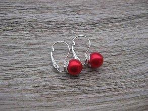 Náušnice - Perly visiace - striebro 925 (Červené perly, č.1795) - 9187343_