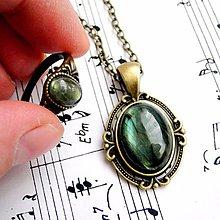 Sady šperkov - Labradorite & Bronze Necklace & Ring / Set náhrdelníka a prsteňa s labradoritom - 9192283_