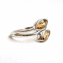 Prstene - Citrine Marquise Ring Silver Ag 925 / Strieborný prsteň s citrínmi - 9194832_