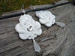 Náušnice - Soutache náušnice Svadobné biele