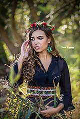 Opasky - Čierny ľudový opasok z kolekcie Black&Red folk - 9195137_