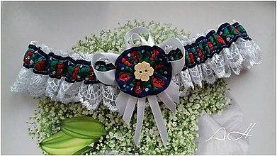 Bielizeň/Plavky - svadobný podväzok ,, folk modrý ,, - 9191349_