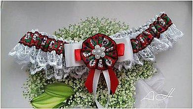Bielizeň/Plavky - svadobný podväzok ,, folk červený ,, - 9191396_