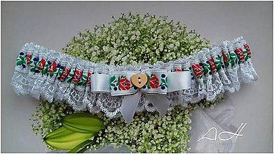 Bielizeň/Plavky - svadobný podväzok ,, folk biely ,, - 9191426_