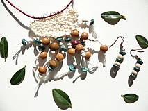 Náušnice s náhrdelníkom Smaragd-bordó-biela