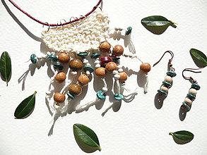Náhrdelníky - Náušnice s náhrdelníkom Smaragd-bordó-biela - 9191976_