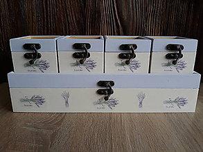 Krabičky - Sada drevených krabičiek - Levanduľa - 9195840_