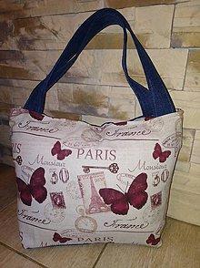 Veľké tašky - Taška Paríž s motýľmi - 9195107_