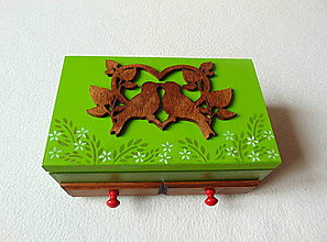 Krabičky - Šperkovnica so zrkadlom V lesnej tôni - 9191481_