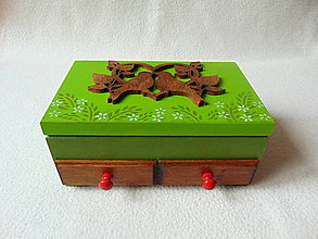 Krabičky - Šperkovnica so zrkadlom V lesnej tôni - 9191483_