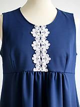 Tehotenské oblečenie - tehotenské šaty - modré s čipkou - 9195837_