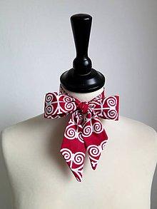 Šatky - červená dámska kravata Čičmany - 9195776_