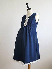 Tehotenské/Na dojčenie - tehotenské šaty - modré s čipkou - 9195835_