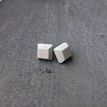 Náušnice - Betónky SHAPE white (natural) - 9192087_