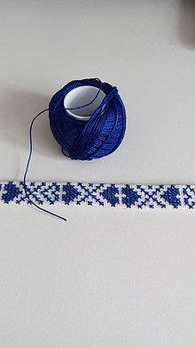 Náhrdelníky - Choker - ručne vyšívaný (Modrá) - 9192160_