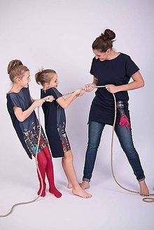 Detské oblečenie - Tmavomodrá tunika žirafa pre dievča - 9194949_