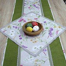 Úžitkový textil - Farebná lúka na režnej - obrus štvorec - 9191231_