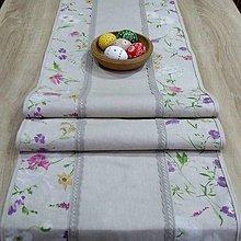 Úžitkový textil - Farebná lúka na režnej - stredový obrus(4) (155 cm x 40 cm) - 9194304_