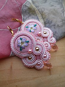 Náušnice - Romantické šujtášové náušničky (Sweet pink) - 9193700_