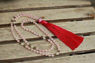 Náhrdelníky - Náhrdelník Japa Mala z minerálov ruženín, záhneda, jadeit - 9194730_