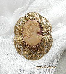 Odznaky/Brošne - Filigránová brož s kamejí - 9198679_